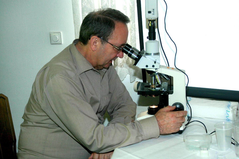 Dieter Untergasser beim Mikroskopieren. Foto Dr. D. Hohl